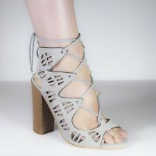 Womens Lace Up Cut Out High Block Heel Ladies Peep Toe Tie Party Sandals Shoes