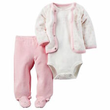 Carters 3pc Set Cardigan Bodysuit Footed Pants Pink Baby Girl Size 3 6 Months