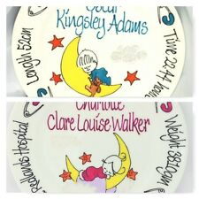 Christening Plate Hand Painted Personalised Moon Baby design boy or girl