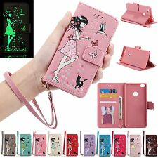 Lovely Luminous Flip Leather Kickstand Wallet Case Cover For Huawei Cell Models