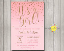 Custom Baby Shower Invitation It's a Girl Pink Watercolour & Rose Gold