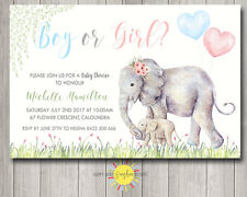 Custom Baby Shower Invitation Cute Mum & Baby Elephant Blue & Pink Balloons