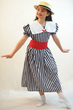 Girls Edwardian/Victorian DELUXE POLYANNA BLACK & WHITE STRIPED DRESS All Ages
