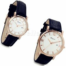 Fashion Mens Womens Date Round Dial Black Leather Band Quartz Analog Wrist Watch
