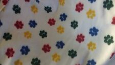 PET DOG CAT FLEECE BLANKET  Handcrafted 40x40 in large white w/ multicolor paws