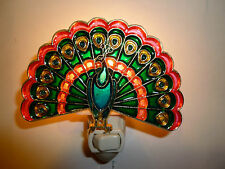 """STAINED GLASS STYLE  """"PEACOCK  """"  NIGHT LIGHT"""