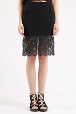 Topshop Deep Lace Hem Bodycon Skirt