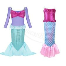 Kid Girls Little Mermaid Princess Dress Cosplay Halloween Party Outfit Costume