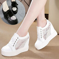 Girl Women Hollow Breathable Platform Wedge High Top Heel Lace Up Sneakers Shoes