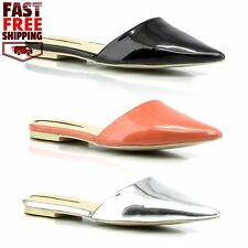 Womens Pointed Toe Mule Flats Slip-On Dress Sandals Faux Patent Leather Shoes