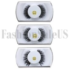 2pcs 100%Real Mink Natural 3D False Fake Eyelashes Makeup Extension Eye Lashes