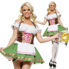 Women Dirndl Costume Oktoberfest German Bavarian Fancy Dress Party Outfit M-XXL