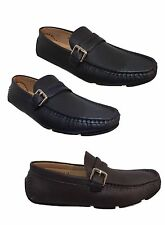MENS MOCCASIN DESIGNER ITALIAN LOAFERS CASUAL MOCCASIN BOAT Navy Brown SHOES NEW
