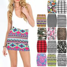 LADIES BODYCON SHORT STRETCHY PRINTED MINI JERSEY PENCIL SKIRT SIZE USA 8-22