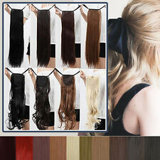 100% Natural Drawstring Tie Ponytail Clip In Thick Long Hair Extensions Blonde A