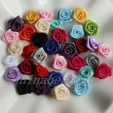 Handmade 1.5cm Satin Ribbon Rose Brooch/Rolled Rosettes Craft Wedding Appliques