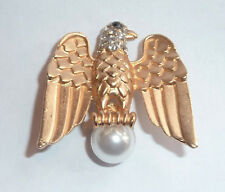 Vintage Style Eagle Bird of Prey Sat on a Faux Pearl Brooch Pin  New Design NEW