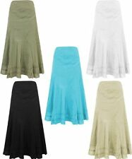 Ladies Womens Cotton Panel Skirt Floral Embroidered Hippy Boho Skirt C4018