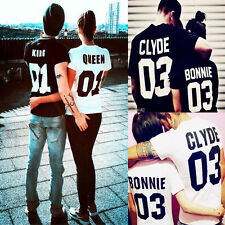 Fashion T-Shirt Bonnie And Clyde Short Sleeve Clothes Lovers' Couple Clothes