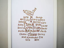 Teacher gift print word art Thank you class gift hand drawn personalised named