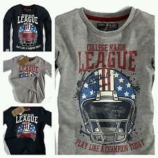 Boys Long Sleeves Top Sports Motif Cotton Graphic T Shirt Age 3 4 5 6 7 8 Years