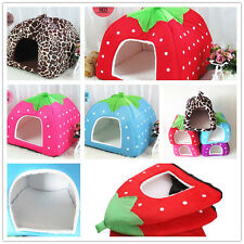 Doggy Puppy Strawberry Kennel Cushion Basket Pad Pet Dog Cat Warm Soft Bed House