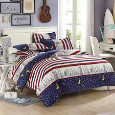Star Moon Red Single FitCA Queen King Size Bed Set Pillowcase Quilt Duvet Cover