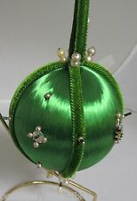 Vintage Hand Crafted Green Satin Trim Sequin Jewel Beaded Ball Ornament