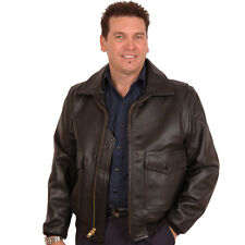 G1 Navy DEERSKIN Leather Bomber Jacket-PLAIN LEATHER COLLAR