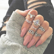 Vintage Jewelry Ring Set Accessories 7Pcs Carved Gemstone Women Bohemian