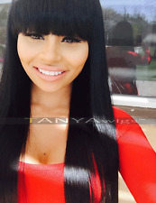 Lace Front Wig With Straight Bangs Brazilian Remy Human Hair Natural Color Wigs