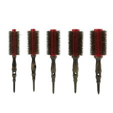 Red Anti-static Bristle Round Hair Rollers Brush Natural Wood Hairbrush Comb