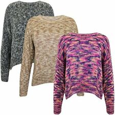 Ladies Womens Soft Knitted Multi Colour Jumper Top Knit Short Cropped Tail Back