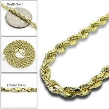 """3MM 14K SOLID Yellow Gold Diamond Cut Rope Chain Necklace – 18"""" – 24"""" Inch"""