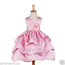 NEW PINK WEDDING PICKUP BABY PICTURE FLOWER GIRL DRESS 6M 12M 18M 2 4 6 8 10 12