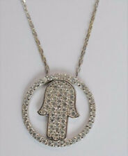 Sterling Silver 925 Charm Necklace - CZ Circle Hamsa Hand