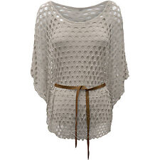 Ladies Womens Crochet Stretch Knit Tunic Kaftan Batwing Top Boho Jumper Beach
