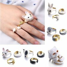 3Pcs Cute Animal Adjustable Band Knuckle Midi Mid Finger Tip Stacking Ring Set