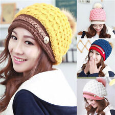 Hot Winter Warm Women Ladies Beret Braided Baggy Beanie Crochet Knit Cap Hat mb