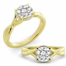 1.30 tcw Round Cut Natural GIA Certified Diamond Engagement Ring 14k Gold Yellow