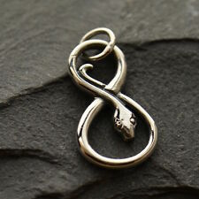 925 Sterling Silver Snake Charm Serpent Infinity Link Pendant Necklace 1220