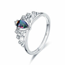 925 Sterling Silver Plated 18K White Gold Ring Queen Crown Color Topaz Ring New
