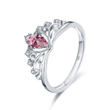 18K White Gold Plated Ring Pink Crystal 925 Sterling Silver Crown Wedding Rings