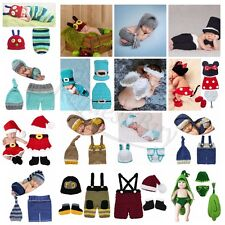 Newborn Baby Girls Crochet Knit Costume Photo Photography Prop Outfits New 0-12M