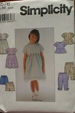 SIMPLICITY 8576 GIRLS DRESS TOP PANTS SHORTS PATTERN SZ 2 3 4 OR 5 6 6X