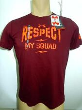 NWT $20 Boy's Under Armour 'Respect My Squad' Deep Red HeatGear T-Shirt Youth