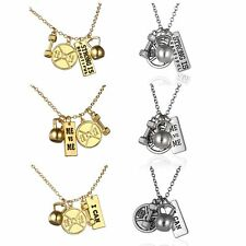 Fashion Dumbbell Weight Lifter Lettering Pendant Necklace Chain Couple Jewelry