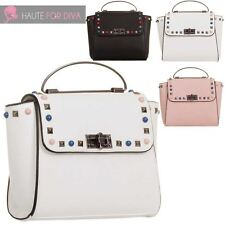 LADIES DESIGNER INSPIRED STUDDED FAUX LEATHER TOP HANDLE FASHION HANDBAG