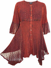 Womens plus size top 18 20 22 24 Burgundy long length romantic 3/4 sleeves lace