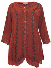 Womens plus size 18 20 22  top romantic embroidered button thr 3/4 sleeve SALE !